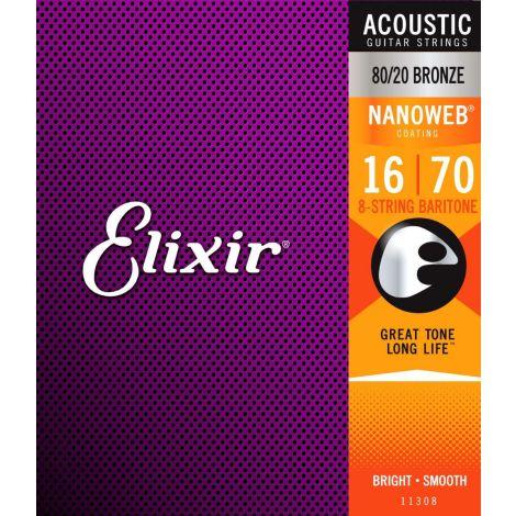 ELIXIR - Acoustic Nanoweb 80/20 Bronze Baritone 8 String ( 16-70 )
