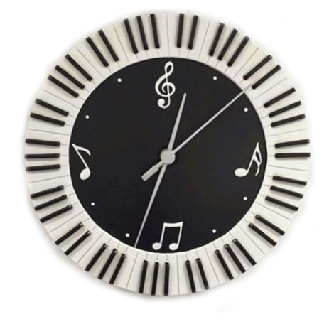 WALL CLOCK ROUND KEYBOARD AND MUSIC SYMBOLS