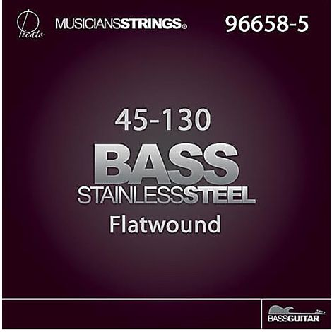PICATO FLATWOUND 96658-5 45-130 STRING SET, ELECTRIC BASS STAINLESS STEEL
