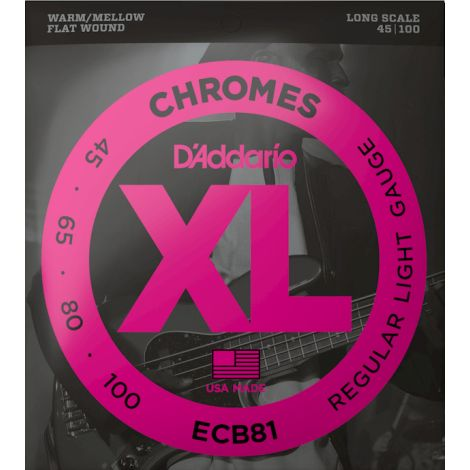 DADDARIO ECB81 45-100 REGULAR LIGHT BASS GUITAR STRINGS CHROME FLAT