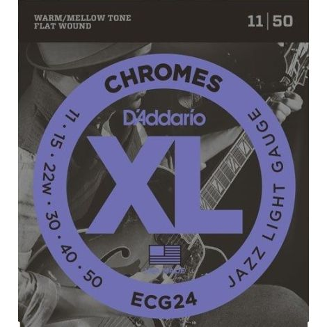 DADDARIO ECG24 11-50 CHROME JAZZ LIGHT ELECTRIC GUITAR STRINGS SET NICKEL WOUND
