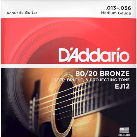 DADDARIO EJ12 13-56 80/20 Medium Gauge Acoustic Guitar Strings Bronze