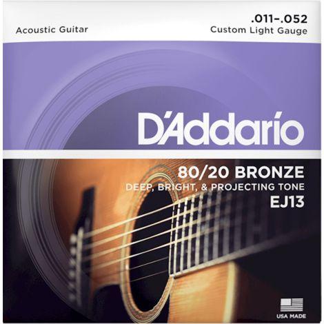 DADDARIO EJ13 11-52 Custom Light  Acoustic Guitar String 80/20 Bronze