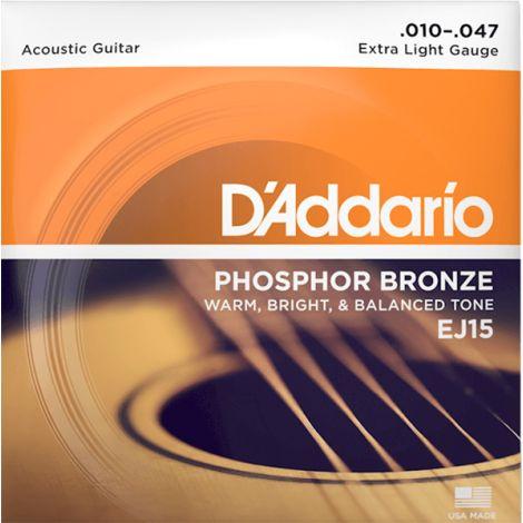 DADDARIO EJ15 10-47 Extra Light  Acoustic Guitar String Phosphor Bronze