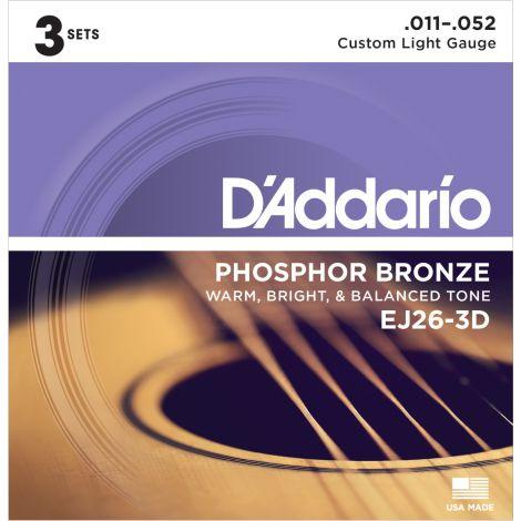 DADDARIO EJ26-3D 11-52 ACOUSTIC GUITAR STRINGS 2 PACK PHOSPHOR BRONZE