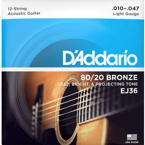DADDARIO EJ36 10-47 String Acoustic Guitar String 80/20 Phosphor Bronze