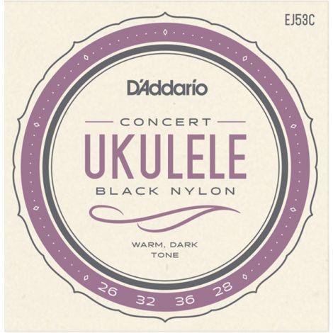 DADDARIO EJ52C CONCERT UKULELE BLACK NYLON STRINGS