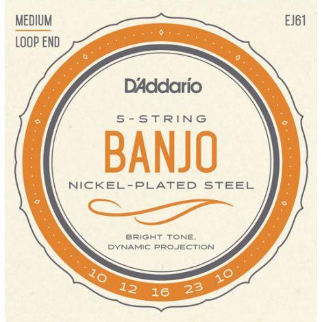DADDARIO EJ61 10-23W -MEDIUM GAUGE 5 STRINGS BANJO NICKEL WOUND