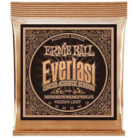 ERNIE BALL EVERLAST 2546 12-54 MEDIUM LIGHT COATED ACOUSTIC GUITAR STRINGS PHOSPHOR BRONZE