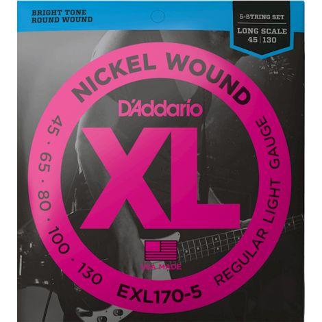 DADDARIO EXL170-5 45-130 BASS GUITAR STRINGS NICKEL