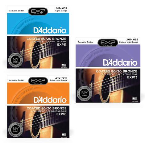 D'ADDARIO EXP Coated 80/20 Bronze Acoustic Guitar Strings