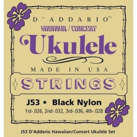 DADDARIO J53 26-32 SOPRANO UKULELE STRINGS BLACK NYLON