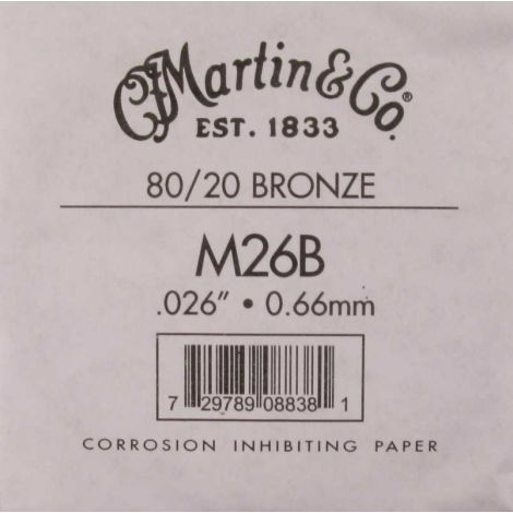 MARTIN M26B 26-66 SINGLE ACOUSTIC GUITAR STRING BRONZE WOUND