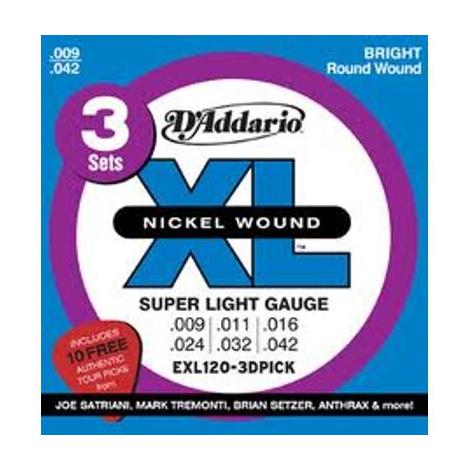 DADDARIO EXL120-3DPICK 09-42 ELECTRIC GUITAR STRINGS PICK PACK NICKEL WOUND