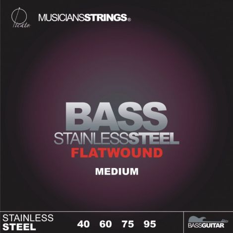 PICATOFLATWOUND 96681 40-95 ELECTRIC GUITAR STRINGS SET STAINLESS STEEL