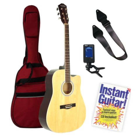 MUSIC MINDS CUTAWAY DREADNOUGHT ACOUSTIC GUITAR NATURAL BEGINNERS PACK