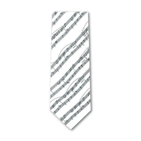 TIE SHEET MUSIC WHITE SILK