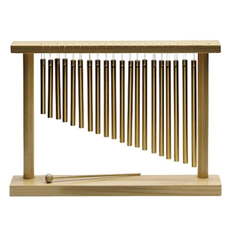 Pipe Chimes, Single Row, 20 Bars, in Wooden Frame, with Striker