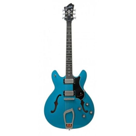 HAGSTROM VIKING MIAMI BLUE HOLLOW BODY ELECTRIC GUITAR WITH CASE